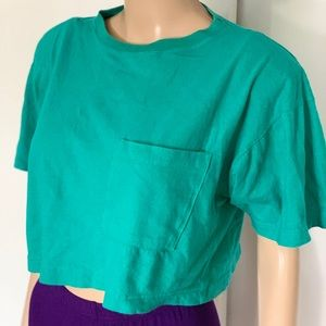 100% cotton vintage 80s green cropped t-shirt